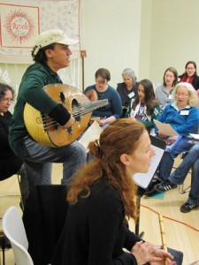 Rachid Halihal and Daphna Mor of Layali El Andalus working with the Washington Revels adults and teens