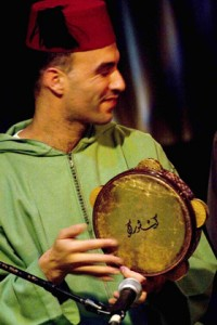 David Buchbut playing the riq.  Photo courtesy of Layali El Andalus.
