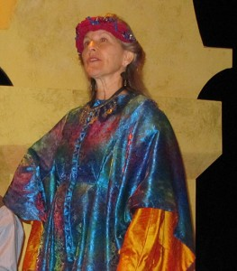 Susan Gaeta in her costume of many colors.