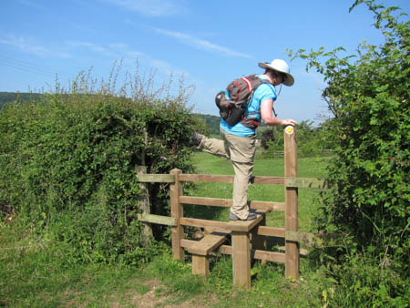 woman climbing over stile