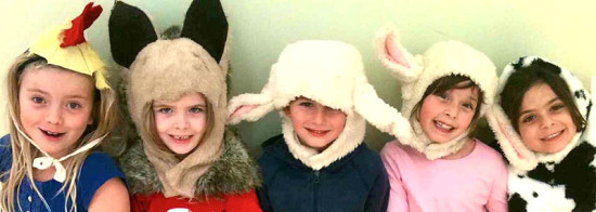 Children in animal hats