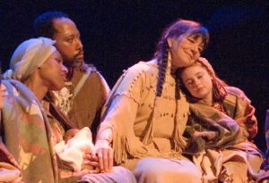 Clare with Dovie Thomason in the 2006 Christmas Revels.